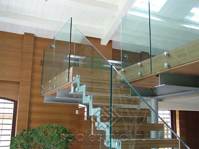 Ограждение из стекла для лестницы Питер