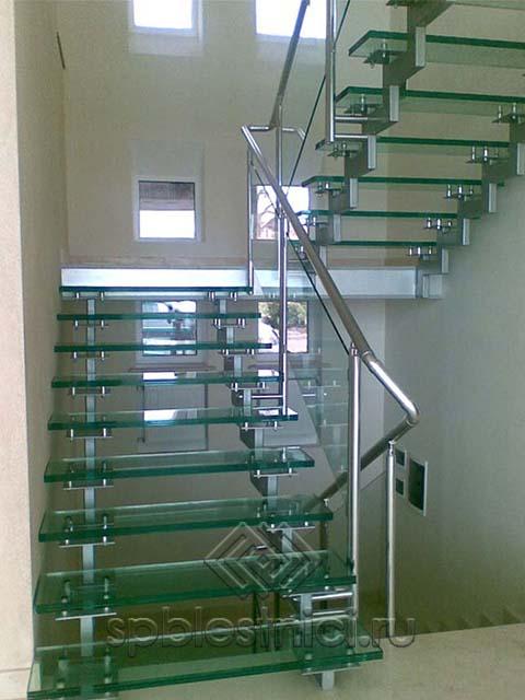 Стеклянная лестница на металлическом каркасе